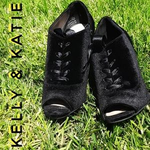 Kelly & Katie Velvet High Heeled Lace Up Booties